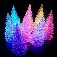 Wholesale Acrylic LED Tree Discus Night Light Crystal Christmas Tree Colorful Christmas Ornaments Xmas Night Lamps For Gift