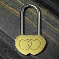 Wholesale Solid Padlock Love Lock Engraved Double Heart Valentines Anniversary Day Gifts