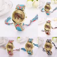 Wholesale 2015 new Women Ladies Braid Weave Watches Fashion Design Lovely Animal Elephant Dial Face Bracelet Watches