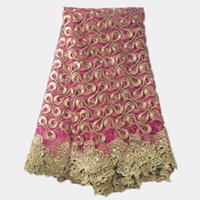french lace - Nice looking French net lace fabric series in fuchsia with flower cord lace African organza mesh lace cloth AN29