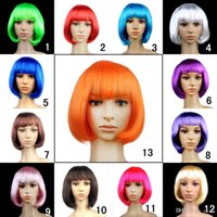 Wholesale New fashion Bob wig dance cosplay party wig Synthetic Fiber Short Blonde Bob Wigs for Women candy colors