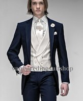 Wholesale 2015Morning Style Groom Tuxedos Peak Lapel Wedding Groomsman High Grade Navy Blue Prom Eveningsuits Jacket Pants vest tie Free Shiping
