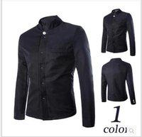 Wholesale Fashion New Mens Dress Slim Stand Collar Black Color Zhongshan Suits Large Size Business Coats Piece
