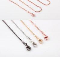 al por mayor 18k de oro rosa llena-Negro 18K Rose Gold Filled 4 Cadenas Opciones de Color largo collar de 24 pulgadas de alta calidad colgante collar Nuevos Enlaces