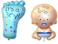 baby boy decor - set Hot angel baby boy balloon baby shower baby feet foil baloons baby foot party decor