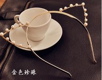 Wholesale 30pcs Fashion Pearl Crystal Cat Ears Fashion Headband Hairband Hair Ornament Tiara Crown Cat Ear Crown With Pearl Crystals
