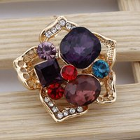 big colorful flower rings - New Design Colorful Austrian Crystal Ring K Gold Plated Trendy Exaggerated Big Flower Ring for Women Bridal Wedding Jewelry