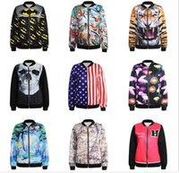american flag smiley - FG new Autumn Winter zipper Design Tiger Skull map American flag smiley face painting printed men D Print Coats Jackets