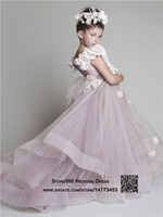 Wholesale Vintage Light Purple Girls Pageant Dress Wedding Flower Girl Dresses Tulle Long Tail Ball Gowns Formal Occasion F614