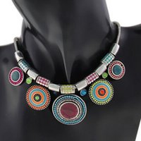 Wholesale JECKSION Fashion Choker Necklace New Ethnic Vintage Silver Plated Colorful Bead Pendant Stat necklace