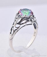 mystic topaz - 925 silver mixed style Victoria seven stones from mystic topaz ring luxury wedding ring carved decorative pattern