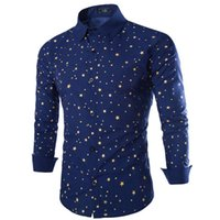 Wholesale New Mens Long Sleeved Dress Shirts Five pointed Star Pattern Slim Fit Casual Shirts