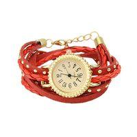 Wholesale Fashion Designer Black White Red Leather Watchband Analog Quartz Wrist Watch For Women