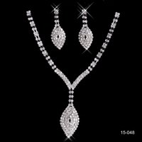 Cheap Cheapest Silver plated metal Bridal Jewelry Necklace Earring Set Wholesale Discount Bling Beads Free Shipping Wedding Bridesmaid Accessories