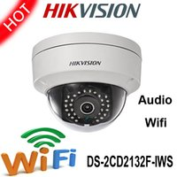 wifi ip dome - Hikvision MP IP Camera DS CD2132F IWS with wifi audio high resolution real time Vandal proof Waterproof Network dome Camera