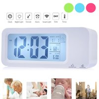 auto set alarm clock - LED USB Rechargeable Smart Alarm Clock Desktop Table Desk Clock Intelligent Backlight Auto light Set Three Alarm Modes Clock