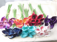 Wedding Hanging Baskets Lily Hot sale artificial Flowers 9 pieces lot Mini Purple in White Calla Lily Bouquets for Bridal Wedding Bouquet Decoration Fake Flower