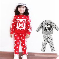 sport clothing wholesale - 2015 Autumn Hot Kids Clothing Sets Korean Style Fashion Mickey Printing Kids Sport Suit Leisure Two piece Big Children Clothes T962