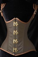 gothic clothes - HOT Women s Corselet Grand Steampunk Leather Clasp Corset Plus Size XXL Women s Bustier Gothic Clothing B6198