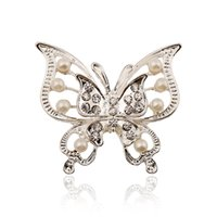 animal metal - New Arrived Koran Fashion Jewelry Metal Double Layers Hollow Out Crystal Pearl Butterfly Brooches Women Pins
