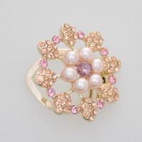 Broche De Perlas Para Las Invitaciones De La Boda Hebilla De La Bufanda De Oro Con Cristal Rosa Y Zircon Amarillo Para Las Niñas