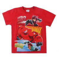 cartoon print t-shirt - 2015 Hot Sell New Fashion Boys Cartoon T Shirt Big Hero Printed Children Tops For Boys Cotton Casual Kids Clothes