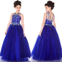 Wholesale 2016 New Royal Blue A Line Halter Tulle Floor Length Beaded Crystal Girl s Pageant Dresses Cheap Flower Girl s Dresses S
