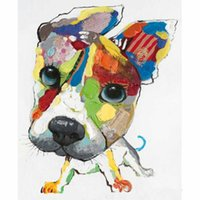 big head pictures - Cartoon Animal Cute Dog with Big Head Hand painted Oil Painting on Canvas Wall Art Picture for Living Room Bedroom Wall Decor