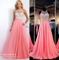 alexia prom dresses - Coral Pink Beaded Chiffon Prom Dresses by Blush by Alexia With Illusion Sweetheart Sleeveless Luxurious Beads A Line Floor Length Blush