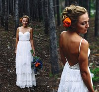 Cheap New Backless Spaghetti Lace Wedding Dresses Boho Tiers Romantic Summer A line Beach Garden Bridal Gowns 2015 Custom Free Shipping