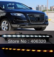 Cheap 2x LED DRL Driving Daytime Running Day Fog Lamp Light Turn Signal For Audi Q7 1:1replace Free shipping