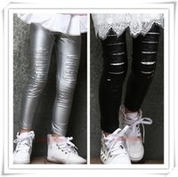 Cheap 2015 Spring Fashion Girl Faux Leather Leggings Pant Baby Kids Black Silver Lace Ripped Tights Pure Cotton Child Wholesale Casual Clothing