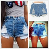 Wholesale Women Shorts Summer Sexy Women Fashion Hole Destroyed Short Jeans High Waisted Jeans Short Denim Shorts Blue DK02