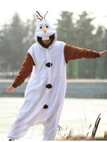 Wholesale 2014 New Anime Cosplay Frozen Olaf Snowman Cos Pajamas Adult Women Men Unisex Onesie Party Costumes Halloween Dresses