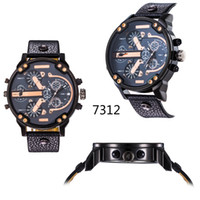 big military - Toh men s fashion brand quartz watch stainless steel watch military watch big dial leather strap calendar time zones