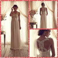 anna beautiful - Anna Campbell Scoop Neck Lace Appliques Sheath Chiffon Court Train Wedding Dresses Beautiful Custom For Ladies Bridal Gowns Beading
