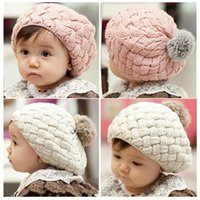 Girl Winter Crochet Hats baby hat kids baby photo props beanie,faux rabbit fur gorros bebes crochet beanie toddler cap for 4 months-3 years old girl