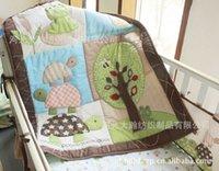 Wholesale 7 pieces bordir D besar penyu katak pohon perlengkapan tempat tidur set Selimut Bumper kasur untuk menutupi Bedskirt katun set tempa