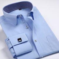 tommy shirt - Fashion Mens cCufflink Shirts High Quality Long Sleeve French Cuff Dress Shirt Boss Men Cufflinks Free Plus Size XL Tommy