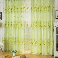 Wholesale Home Fashion Sheer Sunflower Printing Organza Window Curtain Voile Panel Screen Pastoral Decoration