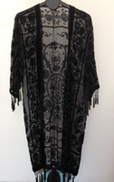 beaded fringe wholesale - Beaded Velvet Tassel Fringe Long Coat Crown Black