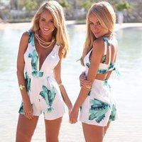 Estate Sexy Abbigliamento Da Spiaggia Donne Tute Open Back Breve Mini Tutine Con Stampa Moda Donna Playsuits