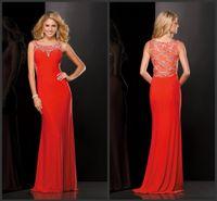 beaded j - 2016 Kasey J Sheath Jersey Orange Prom Party Dresses Beaded Scoop Neckline Sleeveless KR Formal Pageant Dress Side Zipper Evening Gowns