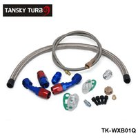 Wholesale TANSKY T3 T4 T3 T4 T70 T66 TO4E Turbo Oil Feed Line Oil Return Line Oil Drain Line Kit blue and red TK WXB01Q
