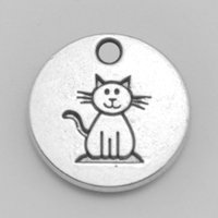 cat charms - 20pcs double sided mm antique silver cat on disc floating charms animals