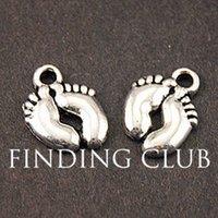 Cheap Free Shipping 50 pcs Antique Silver Cute Baby Feet Charm 14x10mm A850