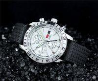 balck watch - Sport men Luxury quartz chronograph wristwatch balck Rubber watches for men