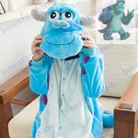 adult onesies - Brand New Monsters University Mike Wazowski Sulley Onesies Pajamas Jumpsuit Hoodies Adults Cosplay Costumes