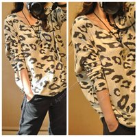 animal print - 2015 New Women s Animal Leopard Print Batwing Long Sleeve Sweater Loose Pullover Jumper