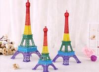 Metal antique centerpiece - Romantic Rainbow D Eiffel Tower model Alloy Eiffel Tower Metal souvenir Wedding centerpieces table centerpiece